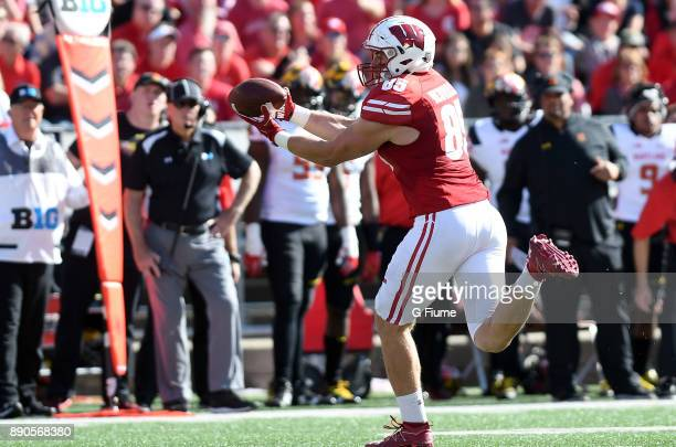 Zander Neuville of the Wisconsin Badgers makes a catch against the Maryland Terrapins at Camp Randall Stadium on October 21 2017 in Madison Wisconsin