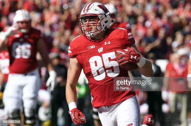 Zander Neuville of the Wisconsin Badgers scores a touchdown against the Maryland Terrapins at Camp Randall Stadium on October 21 2017 in Madison...