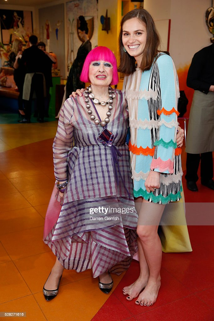 Zandra Rhodes and Jennifer Missoni attend the Missoni Art Colour preview in partnership with The Woolmark Company at The Fashion and Textile Museum on May 4, 2016 in London, England.