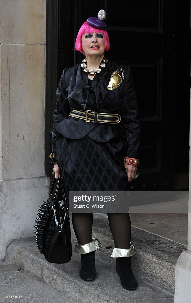 Zandra Rhodes attends a memorial service for former British Vogue Editor Beatrix Miller at St George's Church on April 28, 2014 in London, England. She died aged 90 in February 2014 was the editor of British Vogue from 1964 to 1986.
