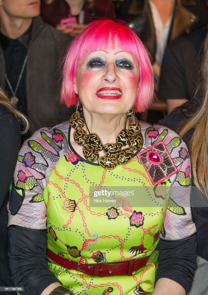 Zandra Rhodes attends the Issa London show during London Fashion Week Fall/Winter 2013/14 at Somerset House on February 16, 2013 in London, England.
