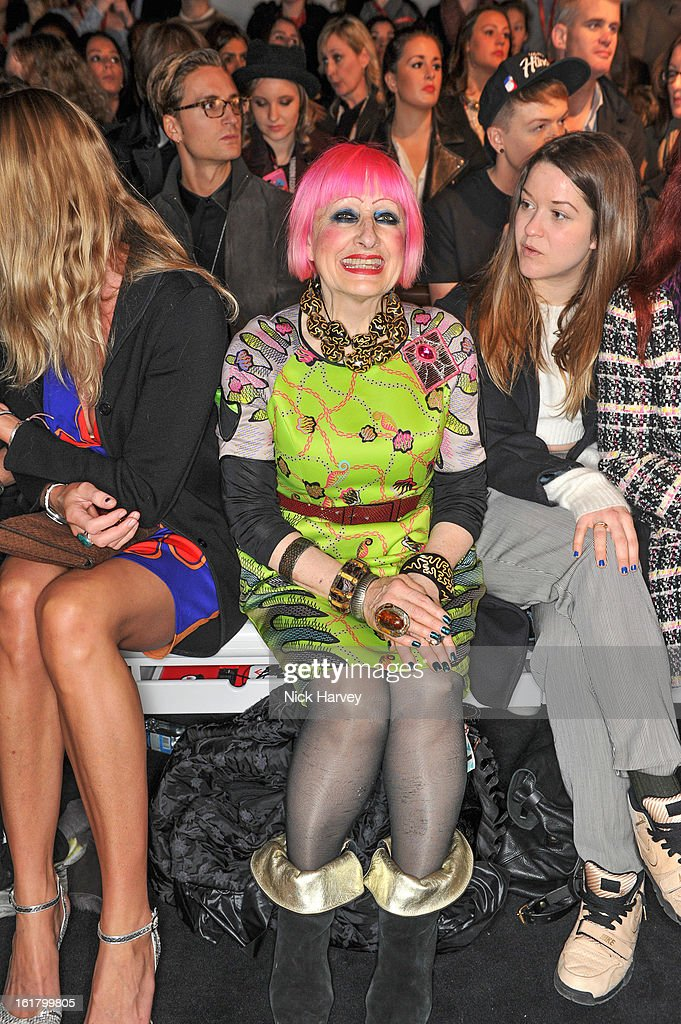 Zandra Rhodes (C) attends the Issa London show during London Fashion Week Fall/Winter 2013/14 at Somerset House on February 16, 2013 in London, England.
