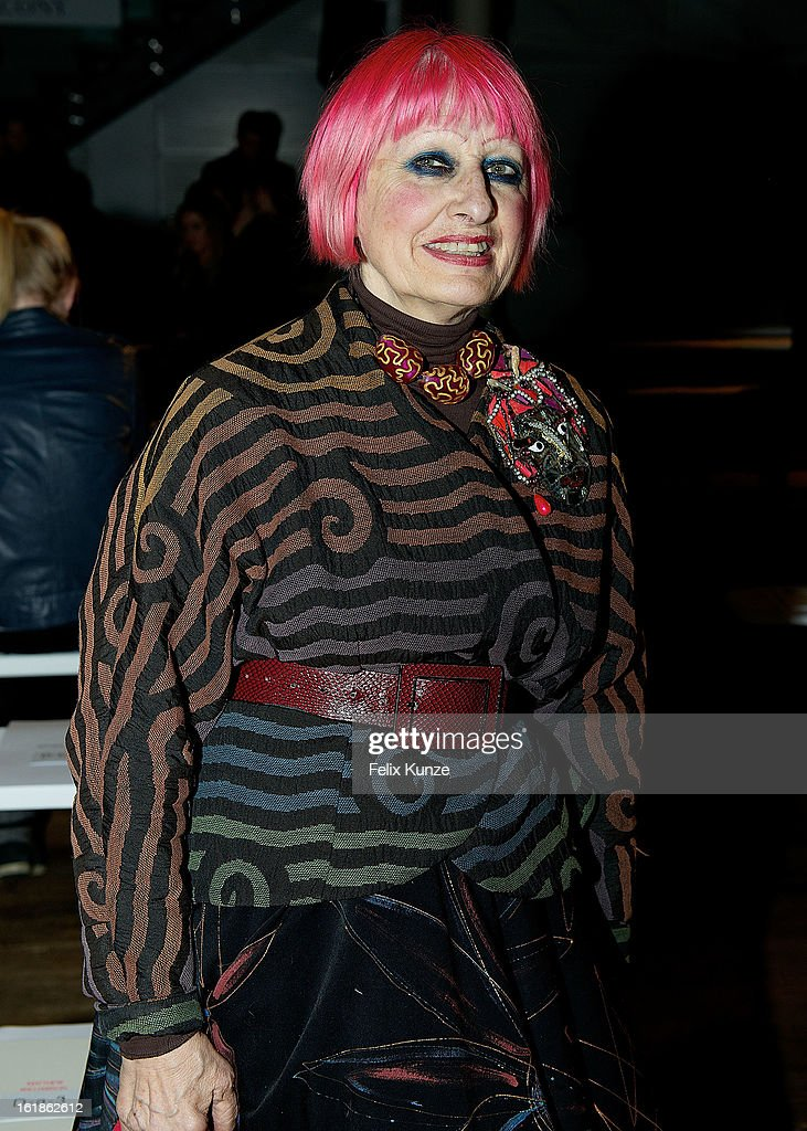Zandra Rhodes attends the Matthew Williamson show during London Fashion Week Fall/Winter 2013/14 on February 17, 2013 in London, England.