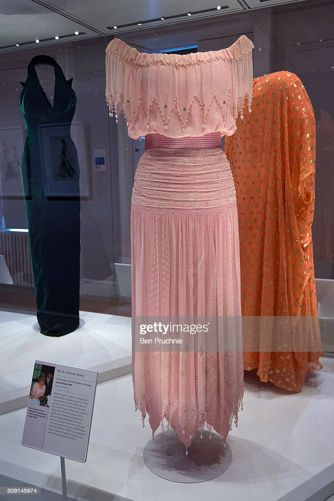 A Zandra Rhodes dress that was worn by Princess Diana is displayed at the Fashion Rules Exhibition at Kensington Palace on February 9, 2016 in London, England. The exhibition, that re-opens to the public on February 11 contains pieces including the dress Queen Elizabeth II wore for her official Silver Jubilee photograph and a dress worn by Diana, Princess of Wales for her last official photo shoot with famed photographer Mario Testino