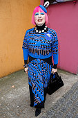 Zandra Rhodes leaves the Fashion and Textile Museum on February 13 2015 in London England Zandra is visiting Buckingham Palace to receive her Dame...
