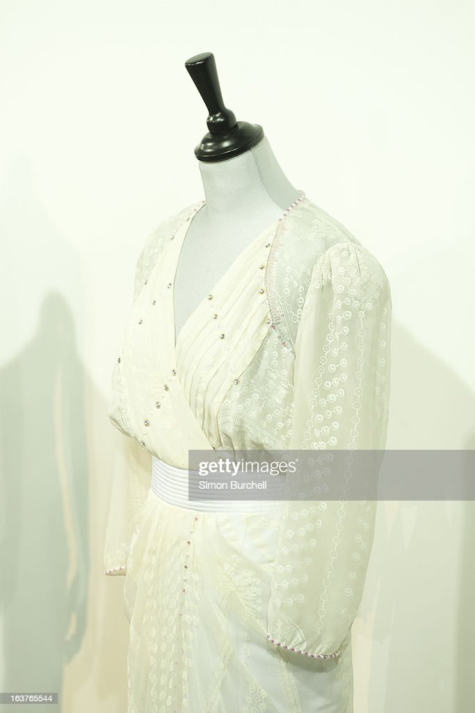 Zandra Rhodes White Chiffon worn at the London Palladium in May 1997 is displayed at a photocall ahead of the the 'Fit For a Princess' auction on March 15, 2013 in London, England. 10 dresses from the collection of Diana, Princess of Wales are to be auctioned by specialist Kerry Taylor.