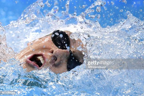 US Zane Grothe competes in a heat of the men's 800m freestyle during the swimming competition at the 2017 FINA World Championships in Budapest on...