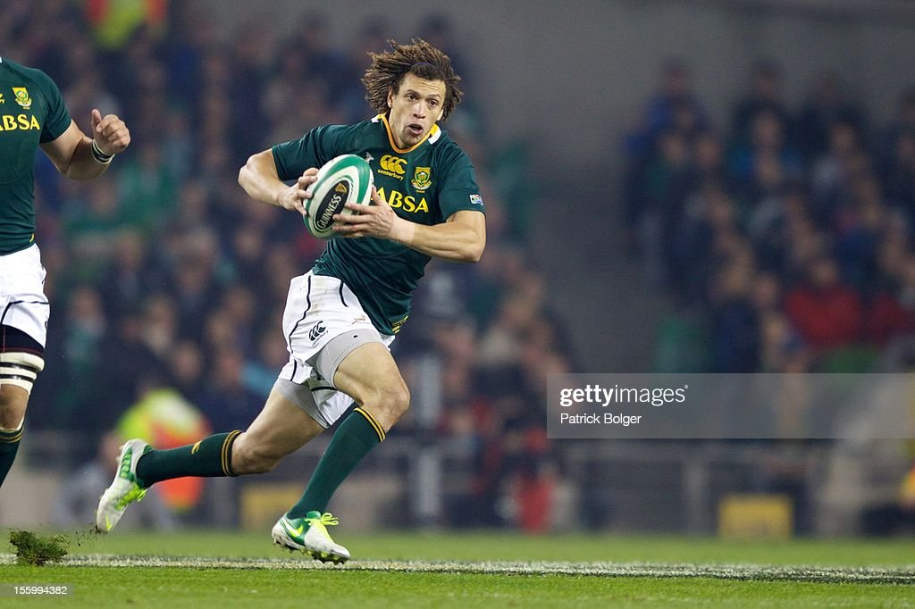 Zane Kirchner of South Africa compete during the International rugby match between Ireland and South Africa in the Aviva Stadium on November 10, 2012 in Dublin, Ireland.