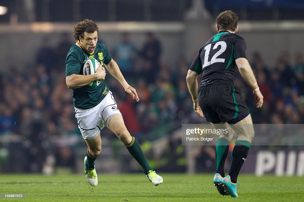 Zane Kirchner of South Africa during the International rugby match between Ireland and South Africa in the Aviva Stadium on November 10, 2012 in Dublin, Ireland.