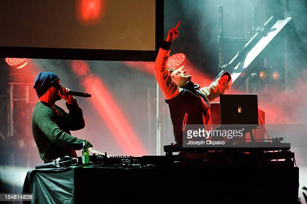 Zane Lowe and Mark Ronson aka 'AYO' perform on the main stage during Day 1 of the Relentless Freeze Festival at Battersea Power station on October 26...