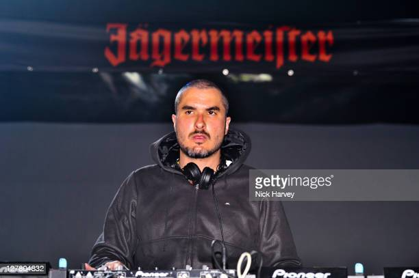 Zane Lowe DJs at the Jagermeister Ice Cold 4D Alice Cooper Holographic Event at Battersea Power station on May 11 2011 in London England