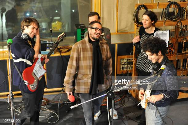 Zane Lowe interviews Justin Young and Freddie Cowan of The Vaccines at BBC Radio 1 Festive Festival 2010 at BBC Maida Vale Studios on December 20...