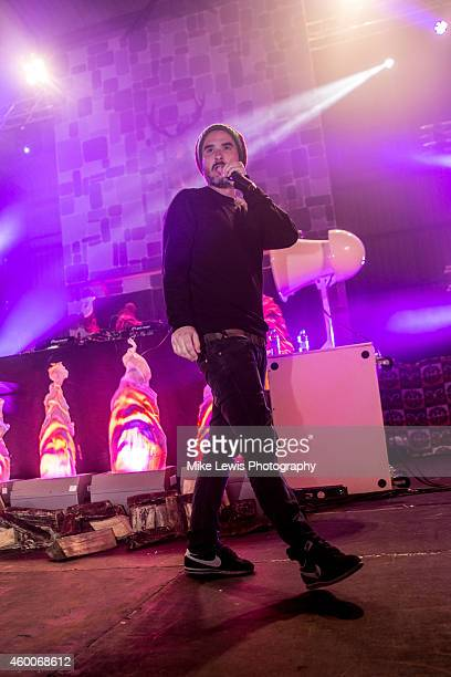 Zane Lowe performs on stage at Splott Warehouse on December 6 2014 in Cardiff United Kingdom
