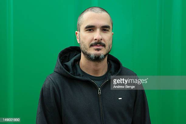 Zane Lowe poses backstage during Cockrock music festival at Wellington Farm on July 21 2012 in Cockermouth United Kingdom