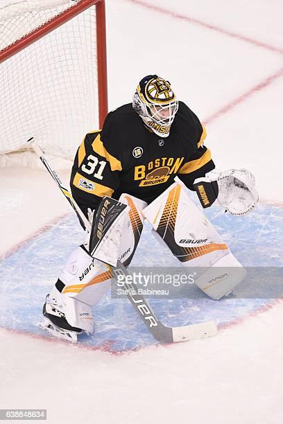 Zane McIntyre of the Boston Bruins against the New York Islanders at the TD Garden on January 16 2017 in Boston Massachusetts