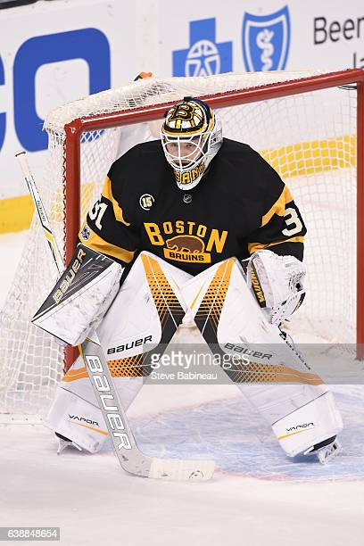 Zane McIntyre of the Boston Bruins against the New York Islanders at the TD Garden on January 16 2017 in Boston Massachusetts