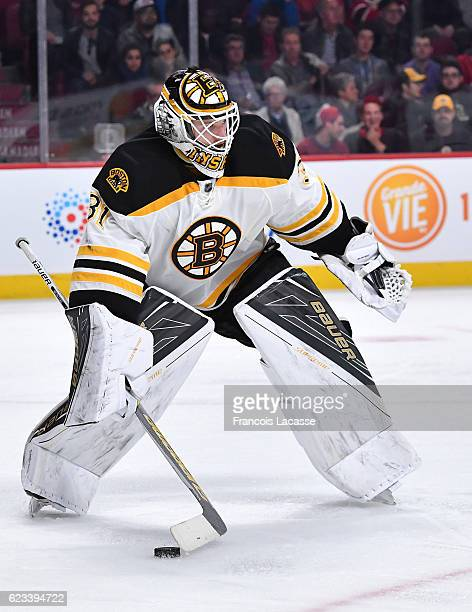 Zane McIntyre of the Boston Bruins during the NHL game against the Montreal Canadiens in the NHL game at the Bell Centre on November 8 2016 in...