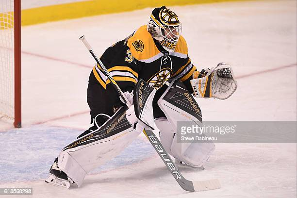 Zane McIntyre of the Boston Bruins in the net against the Minnesota Wild at the TD Garden on October 25 2016 in Boston Massachusetts