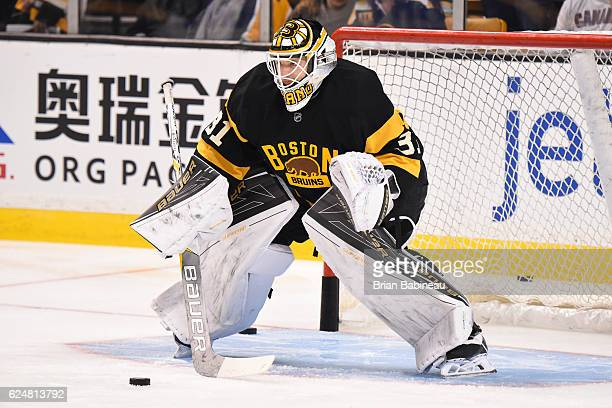 Zane McIntyre of the Boston Bruins in the net for warm ups before the game against the Winnipeg Jets at the TD Garden on November 19 2016 in Boston...