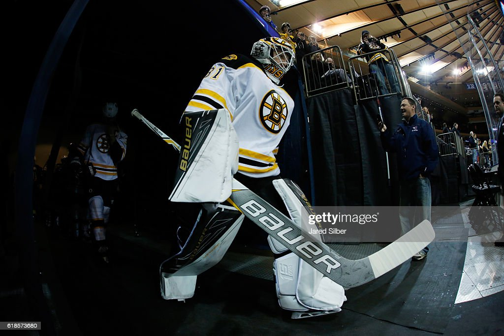 Zane McIntyre #31 of the Boston Bruins prepares to take the ice for pregame warmups before the game against the New York Rangers at Madison Square Garden on October 26, 2016 in New York City.