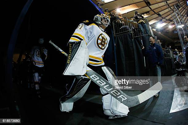 Zane McIntyre of the Boston Bruins prepares to take the ice for pregame warmups before the game against the New York Rangers at Madison Square Garden...