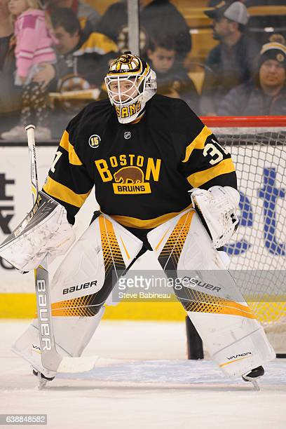 Zane McIntyre of the Boston Bruins warms up against the New York Islanders at the TD Garden on January 16 2017 in Boston Massachusetts