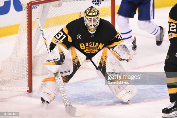 Zane McIntyre of the Boston Bruins watches the play against the Toronto Maple Leafs at the TD Garden on February 4 2017 in Boston Massachusetts
