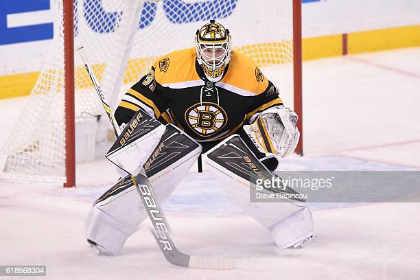 Zane McIntyre of the Boston Bruins watches the play against the Minnesota Wild at the TD Garden on October 25 2016 in Boston Massachusetts