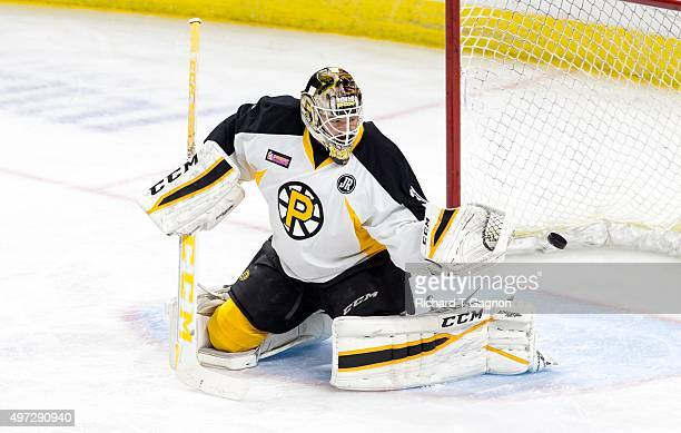 Zane McIntyre of the Providence Bruins warms up before an American Hockey League game against the Portland Pirates at the Dunkin' Donuts Center on...
