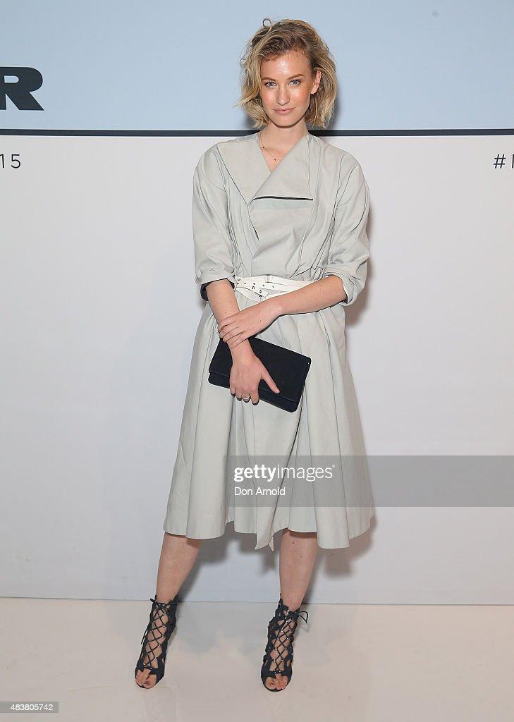 Zanita Whittington arrives ahead of the Myer Spring 2015 Fashion Launch on August 13 2015 in Sydney Australia