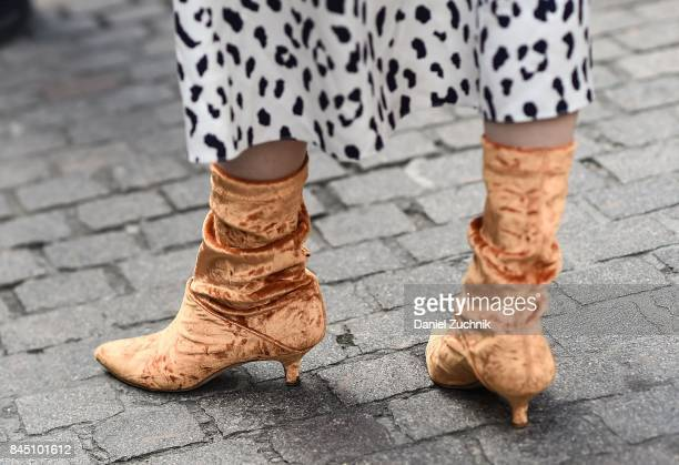 Zanita Whittington is seen wearing peach colored boots outside the Tibi show during New York Fashion Week Women's S/S 2018 on September 9 2017 in New...