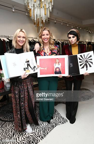 Zanna Roberts Rassi Sara Blakely and CEO Creative Director of Alice Olivia Stacey Bendet pose for a photo together as Sara Blakely and Alice Olivia...