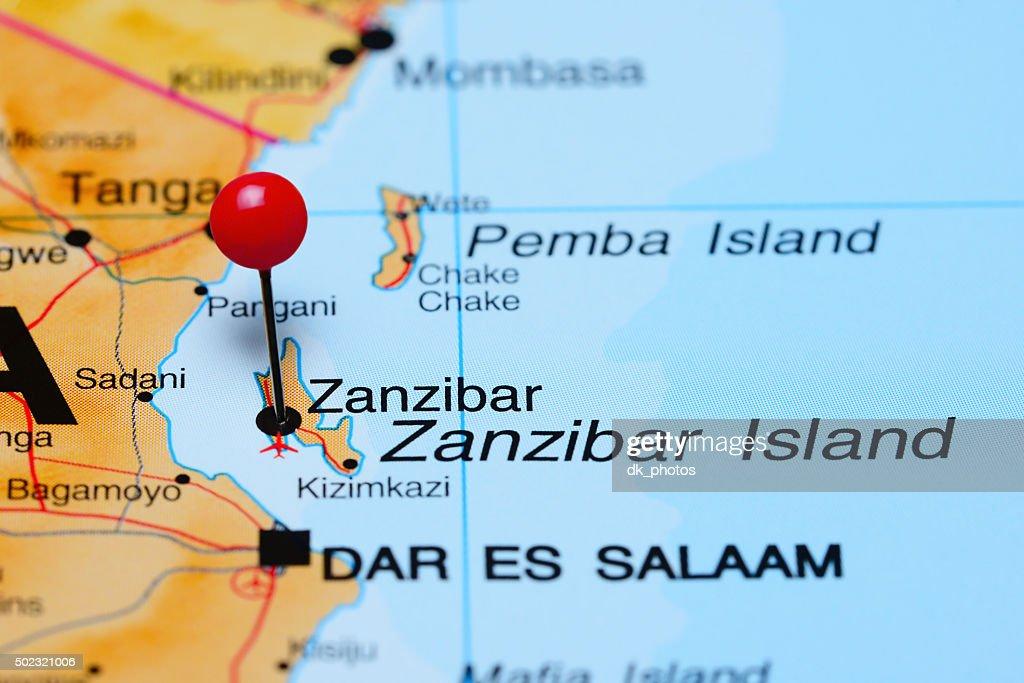 Zanzibar Pinned On A Map Of Africa Stock Photo Thinkstock