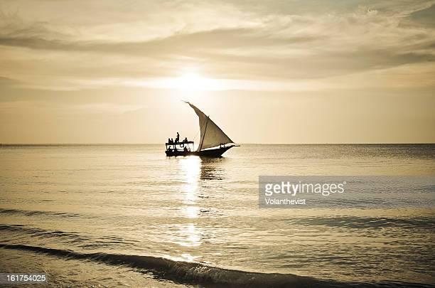 Zanzibar traditional ship at sunset.