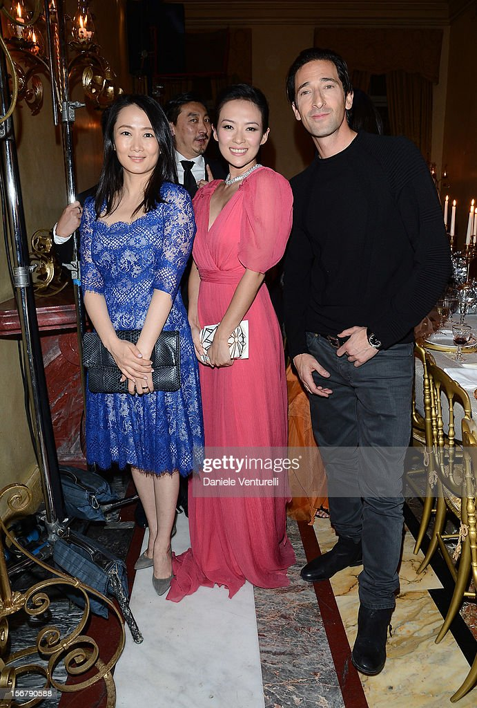 Zao Thao, Zhang Ziyi and Adrien Brody attend the Bulgari 'Stop Think Give' exhibition preview and cocktail at Palazzo Pecci Blunt on November 15, 2012 in Rome, Italy.