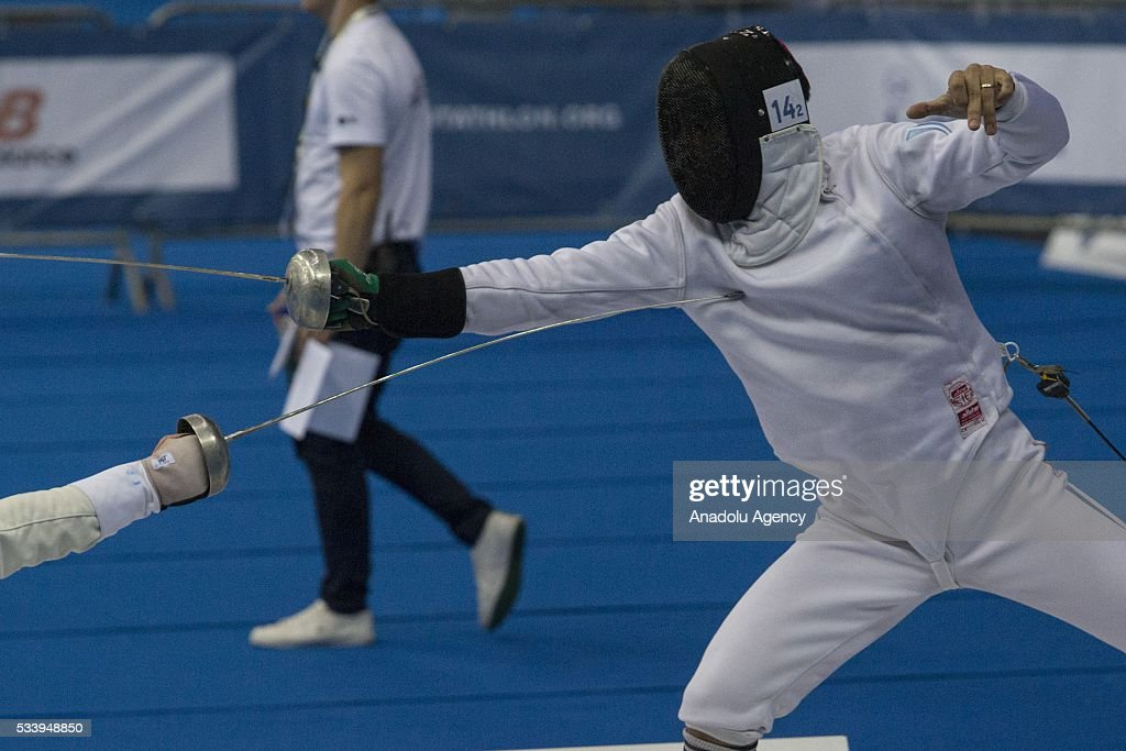 Zapata Emmanuel (Argentina) during the men's relay World Championship in modern pentathlon in Moscow in Olympic Sports Complex in Moscow, Russia, on May 24, 2016.