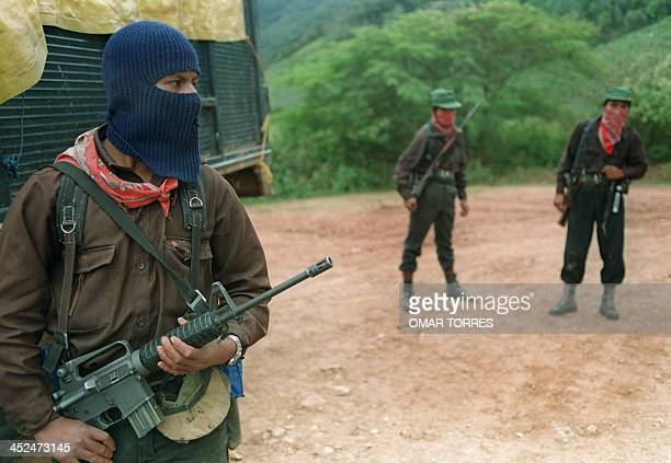 Zapatista National Liberation Army guerilleros guard a road heading towards Chiapas area on March 10 in San Miguel Chiapas Chiapas Zapatista National...