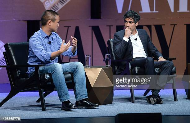 "Zapposcom CEO Tony Hsieh and Yelp CoFounder and CEO Jeremy Stoppelman speak onstage during ""A World of Cities"" at the Vanity Fair New Establishment..."