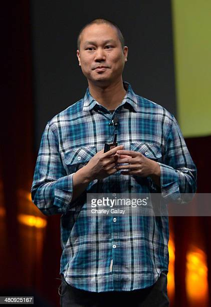 Zapposcom CEO Tony Hsieh speaks onstage at CinemaCon's final day luncheon and special presentation during CinemaCon the official convention of the...