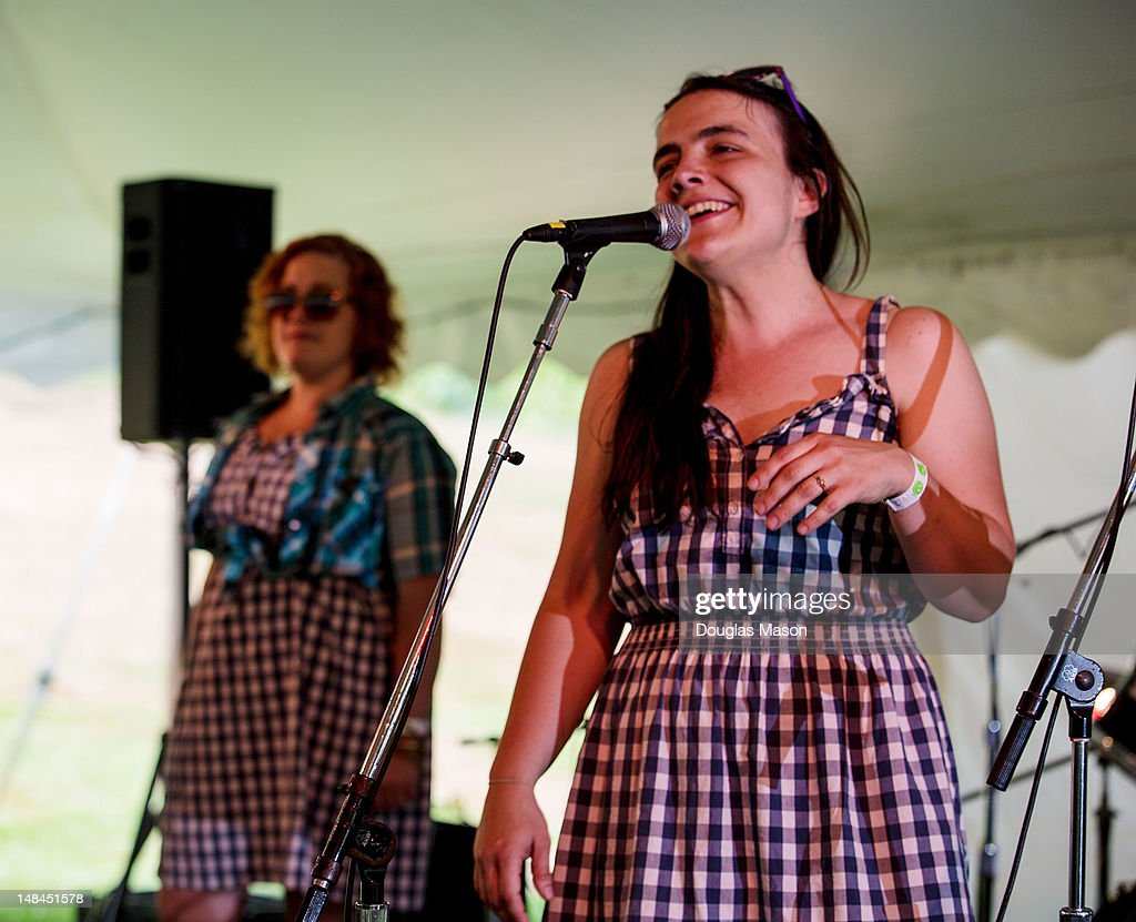 Zara Bode and Emily Miller the Sweetback Sisters perform during the 2012 Green River Festival at Greenfield Community College on July 14 2012 in...