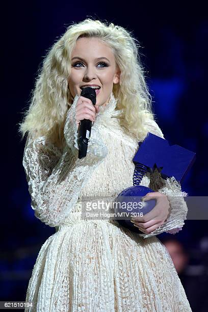 Zara Larsson accepts the Best New award on stage at the MTV Europe Music Awards 2016 on November 6 2016 in Rotterdam Netherlands