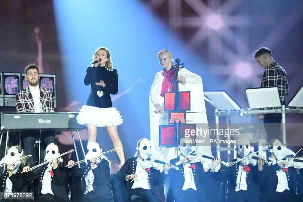 Zara Larsson and Clean Bandit on stage during the MTV Europe Music Awards 2017