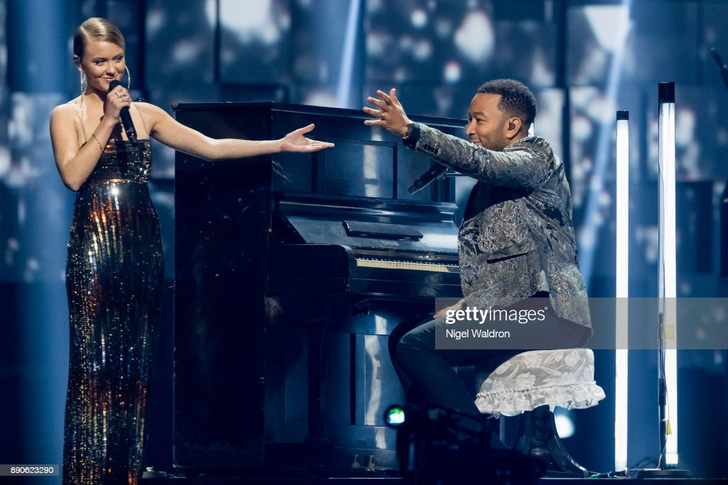 Zara Larsson and John Legend perform live on stage during the Nobel Peace Prize Concert 2017 at the Telenor Arena. The Nobel Peace Prize Concert is hosted by David Oyelowo to honour this year's Nobel Peace Prize winner ICAN (International Campaign to Abolish Nuclear Weapons) on December 11, 2017 in Oslo, Norway.