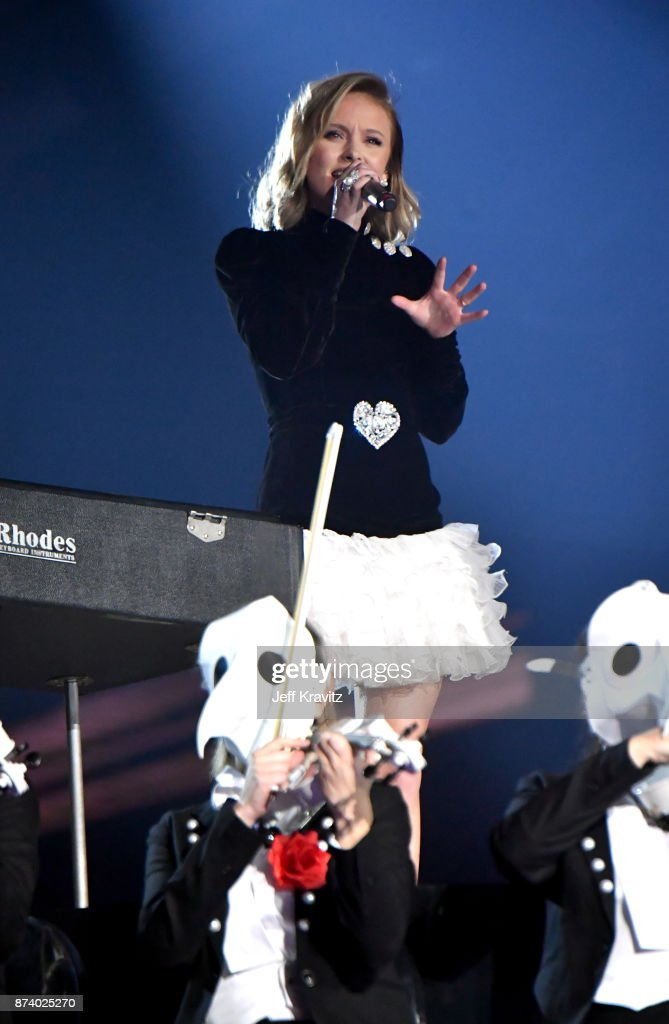 Zara Larsson performs on stage during the MTV EMAs 2017 held at The SSE Arena, Wembley on November 12, 2017 in London, England.