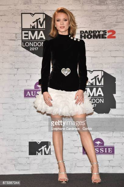 Zara Larsson poses in the Winners Room during the MTV EMAs 2017 held at The SSE Arena Wembley on November 12 2017 in London England