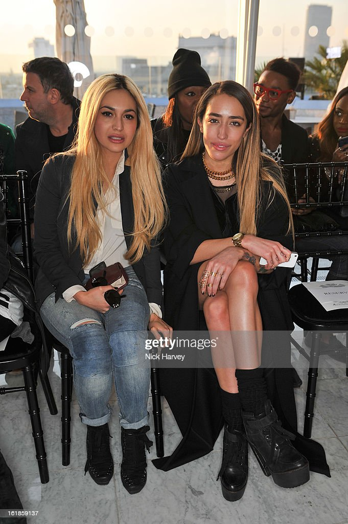 <a gi-track='captionPersonalityLinkClicked' href=/galleries/search?phrase=Zara+Martin&family=editorial&specificpeople=6550505 ng-click='$event.stopPropagation()'>Zara Martin</a> and Delilah attend the Mark Fast salon show during London Fashion Week Fall/Winter 2013/14 at ME Hotel on February 17, 2013 in London, England.