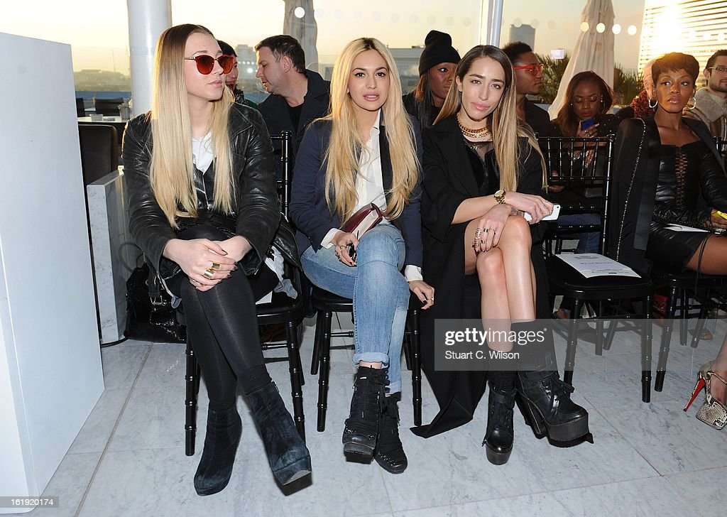 <a gi-track='captionPersonalityLinkClicked' href=/galleries/search?phrase=Zara+Martin&family=editorial&specificpeople=6550505 ng-click='$event.stopPropagation()'>Zara Martin</a> and Delilah (R) attend the Mark Fast salon show during London Fashion Week Fall/Winter 2013/14 at ME Hotel on February 17, 2013 in London, England.