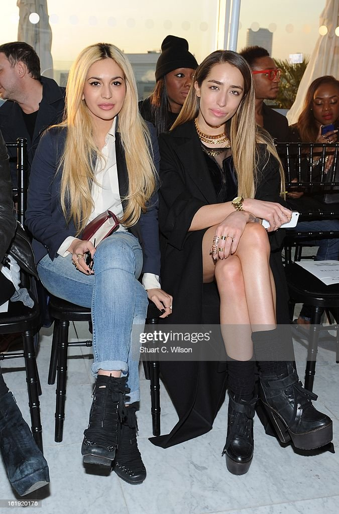 Zara Martin and Delilah (R) attend the Mark Fast salon show during London Fashion Week Fall/Winter 2013/14 at ME Hotel on February 17, 2013 in London, England.