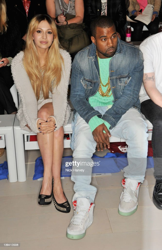 Zara Martin and Kanye West seen front row at the Mark Fast Autumn/Winter 2012 show at London Fashion Week at Somerset House on February 20 2012 in...