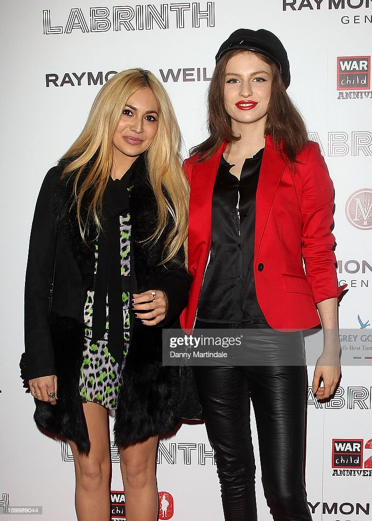 Zara Martin and Tali Lennox attend the Raymond Weil pre-Brit Awards dinner and 20th anniversary celebration of War Child at The Mosaica on January 24, 2013 in London, England.